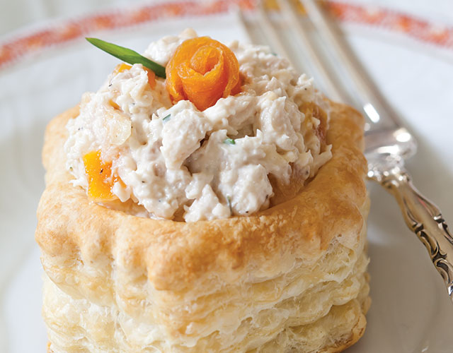 Apricot-Chive Chicken Salad in Puff Pastry Shells