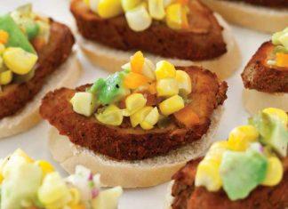 Pork-Crostini-with-Corn-Avocado-Relish