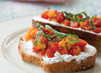 Roast-Pepper-Compote-with-Goat-Cheese