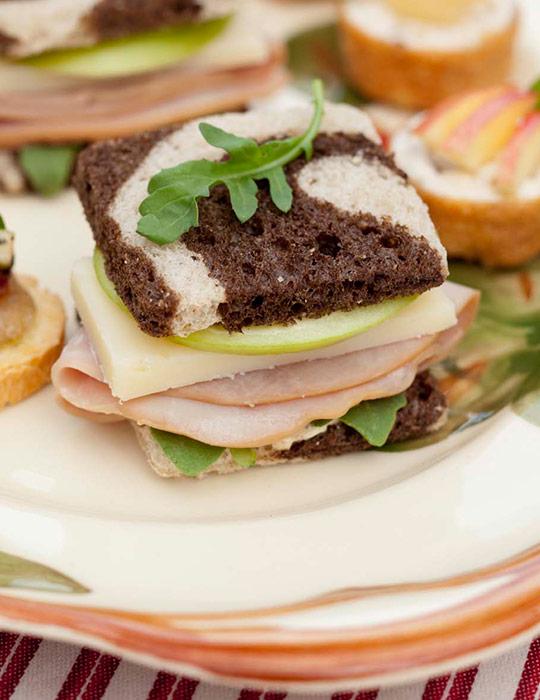 Ham, Cheddar, and Apple Tea Sandwiches