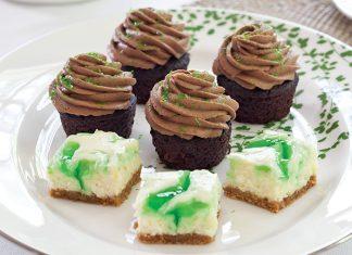 Chocolate-Guinness Mini Cupcakes Lemon-Mint Cheesecake Bars