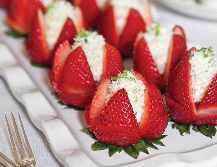 Basil-Mascarpone-Filled Strawberries