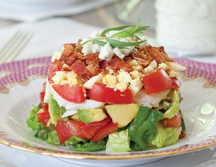 ... cobb salads with fresh avocado tomatoes and romaine stacked crab cobb