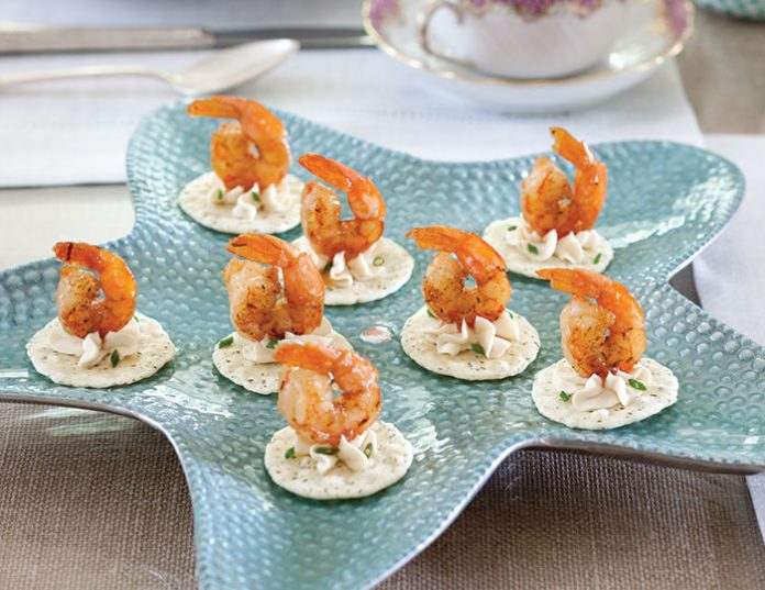 Guava glazed shrimp canap s teatime magazine for Shrimp canape ideas