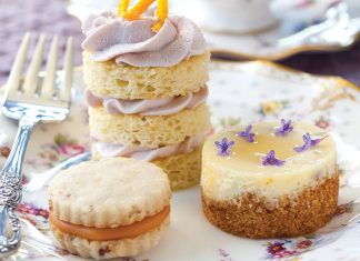 Goat Cheese, Lavender, and Honey Mini Cheesecakes.