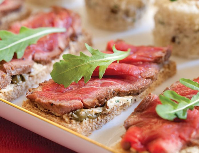 Beef fillet canap s with mushroom caper butter for Canape sandwiches