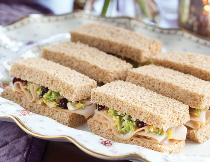 Smoked Turkey and Brussels Sprouts Slaw Tea Sandwiches