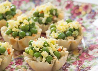 English Pea Salad in Phyllo Cups