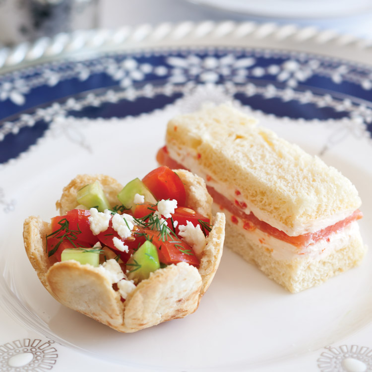 Hanukkah Tea salad and sandwich savories