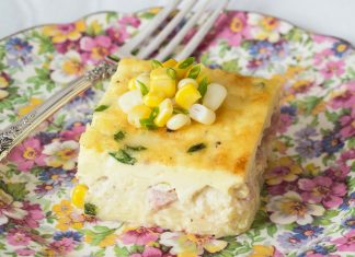 Ham, Corn, and Chive Crustless Quiche