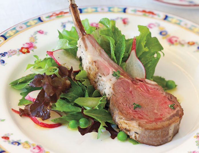 Frenched Lamb Chops and Aparagus and Baby Green Pea Spring Salad