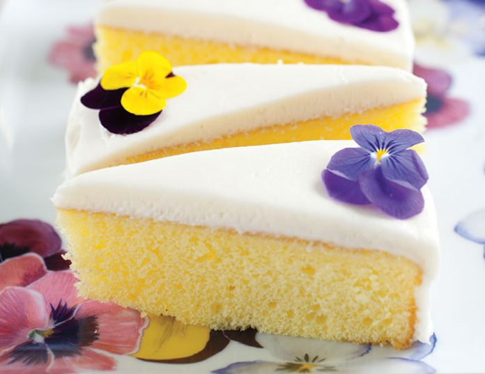 Lemon Pansy Cakes