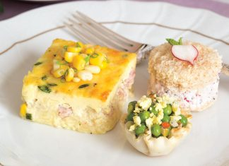 Ham, Corn, and Chive Crustless Quiche, English Pea Salad in Phyllo Cups, and Radish-Poppyseed Tea Sandwiches