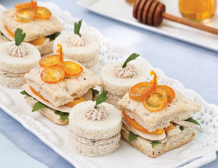 Ham Mousse Tea Sandwiches and Roast Chicken Tea Sandwiches with Honey-Mustard Sauce