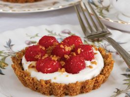Raspberry-Oat Tartlets with Whiskey-Honey Cream