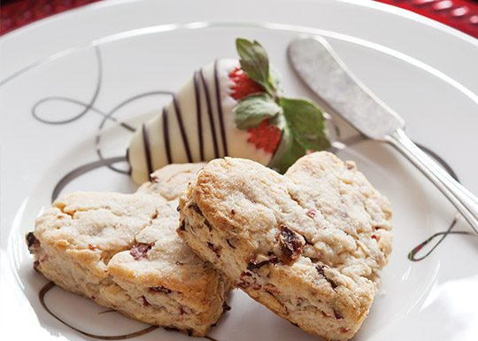 Strawberry, Lavender, and White Chocolate Scones
