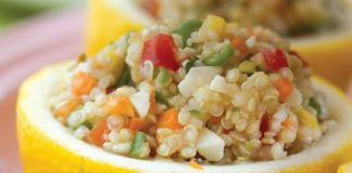 Veggie-Quinoa Salad in Lemon Halves