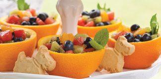Minted Fruit in Orange Bowls