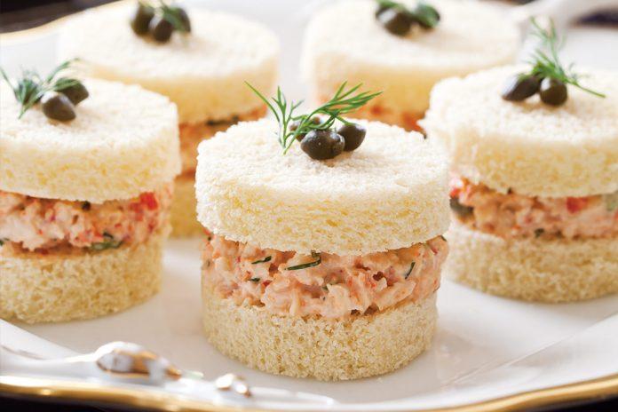 Dilled Crawfish Salad Tea Sandwiches