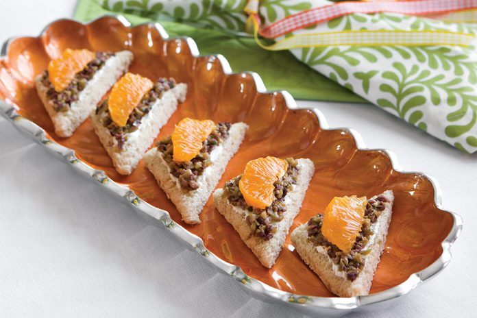 Tangerine, Tapenade, and Goat Cheese Canapés