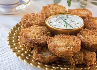 Potato Latkes with Chive Sour Cream