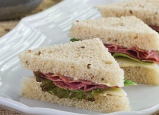 Pastrami-Swiss Tea Sandwiches.