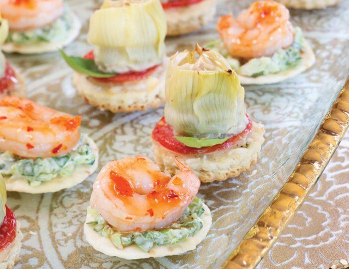 Shrimp and Bok Choy Slaw Canapés