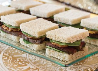 Beef and Spinach Sourdough Tea Sandwiches