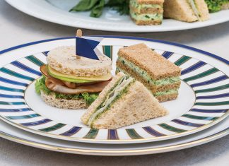 Turkey-Pesto Sandwiches Herbed Cheese Triple-Stack Sandwiches