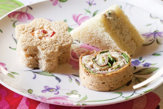 White Pimiento Cheese Flower Sandwiches - TeaTime Magazine
