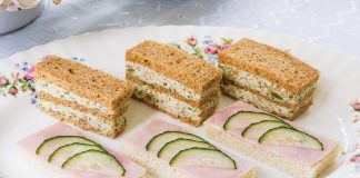 Cucumber-Ham Canapés Olive-Almond Triple Stacks