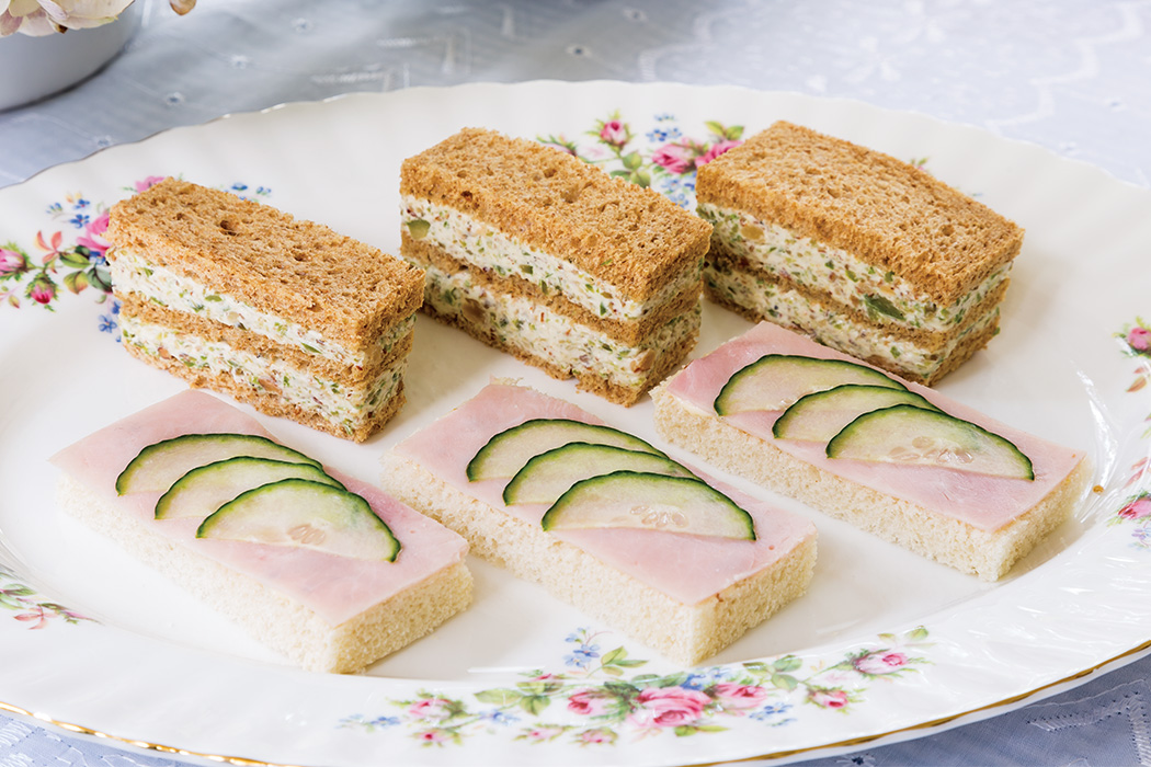 Cucumber-Ham Canapés Olive-Almond Triple Stacks