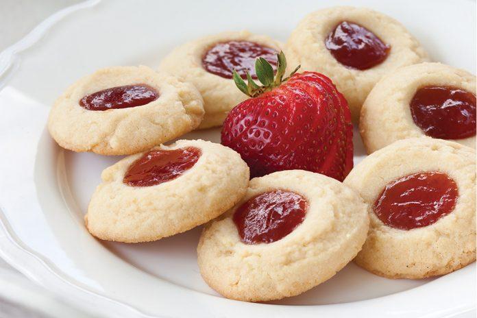 Strawberry-Orange Thumbprint Cookies