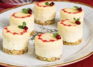 White Chocolate & Pomegranate cheesecakes.