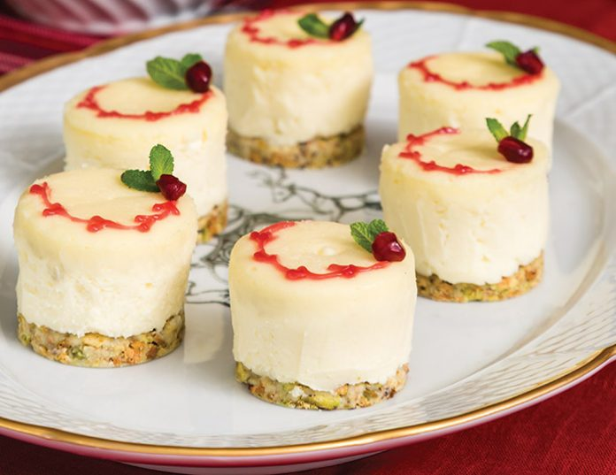 White Chocolate & Pomegranate cheesecakes.