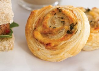 Caramelized Shallot, Parmesan, and Thyme Puff Pastry Swirls