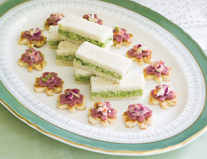Pesto-Chicken Tea Sandwiches