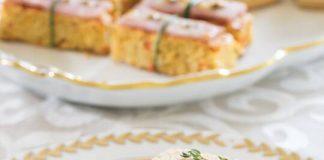 Ham & Cornbread Canapés with Leek-Chive Butter