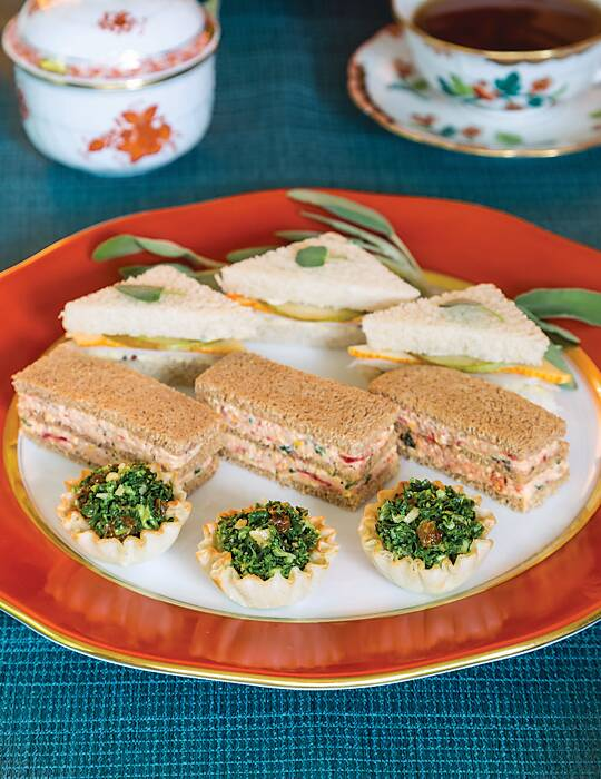 Smoked Salmon, Corn, and Sun-Dried Tomato Tea Sandwiches