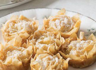 White Tea Phyllo Rose Pastries