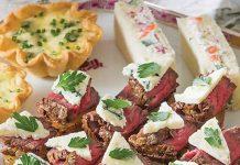 Blue Cheese-Filet Rose Potato Canapés