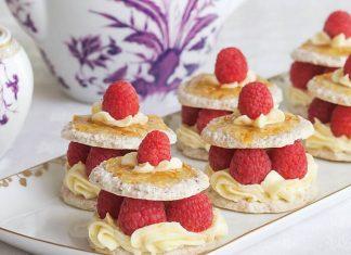 Hazelnut-Lavender Dacquoises with Raspberries