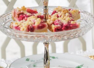 Raspberry-Rhubarb Tray Bake