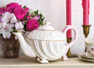 Softly tinted details on the Irish-crafted Neptune Pink teapot by Belleek Pottery gently highlight a unique and memorable teatime accoutrement.