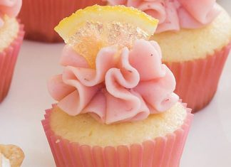 Lemon Cupcakes with Fresh Strawberry Frosting