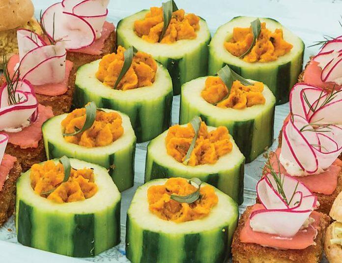 Roasted Carrot & Tarragon Hummus Canapés